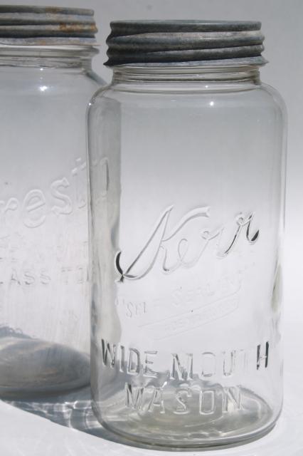 Big two quart size glass mason jars vintage canning jar for Glass jar kitchen ideas