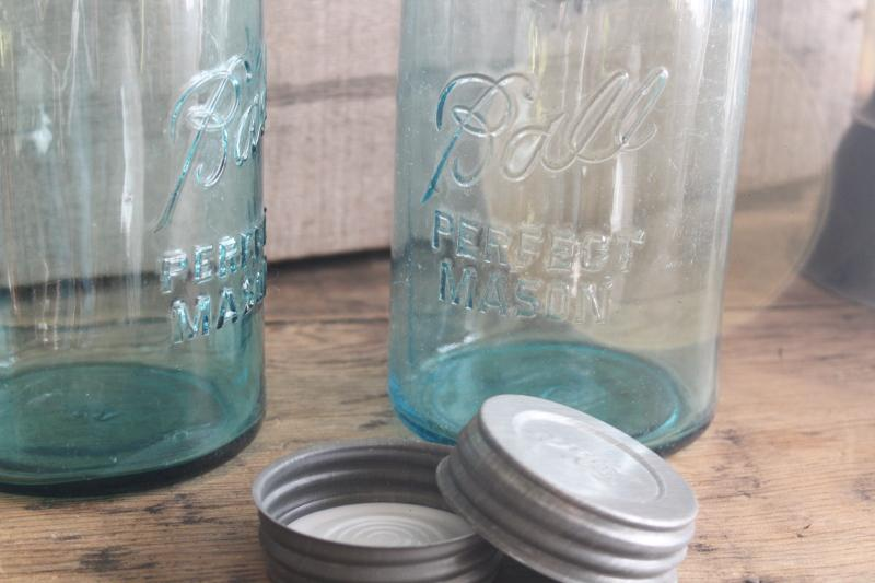 big two quart size vintage Ball Mason jars w/ zinc lids, old aqua blue glass canning jars