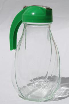 big vintage glass syrup pitcher w/ green plastic dispenser lid, one quart jar