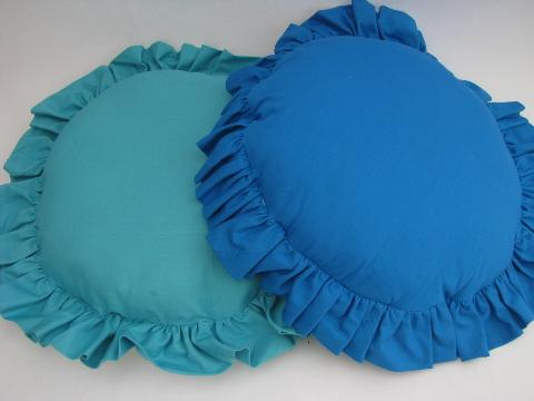 big vintage ruffled edge throw pillows, sunbonnet ladies for boudoir or porch