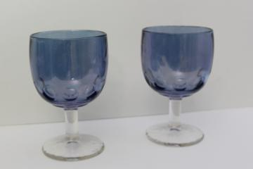 big wine glasses or water goblets, vintage blue colored stain glass flashed color