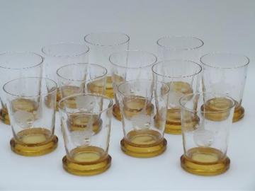 big-eyed goldfish vintage etched glass bar tumblers, 12 amber glasses