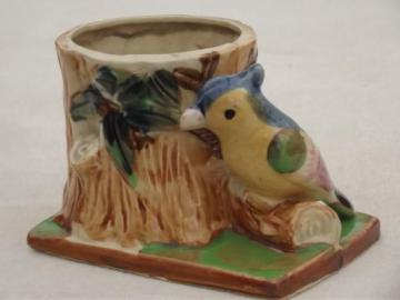 bird on a tree figural pottery planter, vintage Japan china flower pot