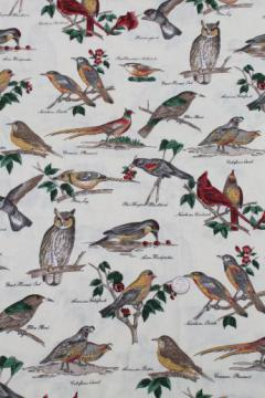 birds in nature print fabric, labeled birds natural history illustrations Audubon style