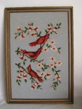 birds on flowering branch, 1950s vintage framed needlepoint picture