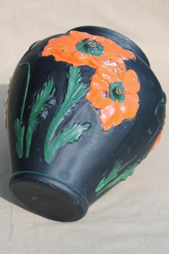 Black Amethyst Glass Vase W Painted Poppies 1930s
