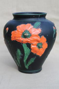 black amethyst glass vase w/ painted poppies, 1930s vintage Tiffin glass poppy vase