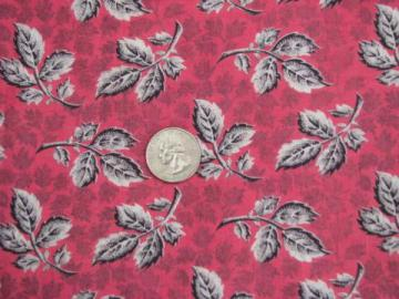 black and white leaves on rose pink, 50s vintage quilting cotton fabric