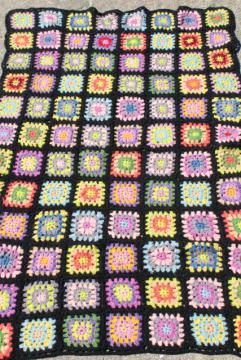 black w/ bright colors granny squares, vintage crochet wool afghan blanket