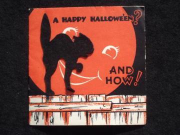 black felt cat Halloween greeting card, 30s vintage Hall Brothers Hallmark