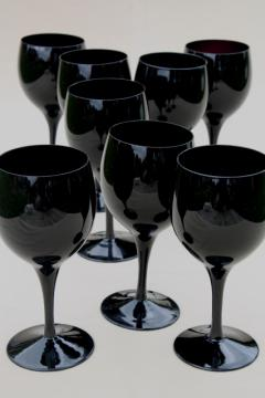 black glass water glasses or wine goblets, vintage stemware set for 8