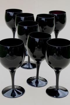 black glass water glasses or wine goblets, vintage stemware set for 8