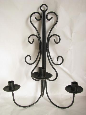 Black Iron Wall Sconces For Candles : black iron candelabra wall sconces, vintage candle sconce pair