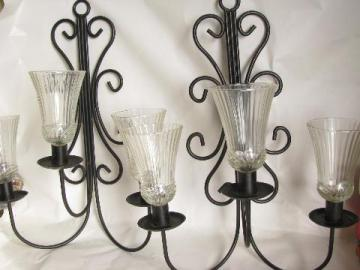 black iron candelabra wall sconces, vintage candle sconce pair