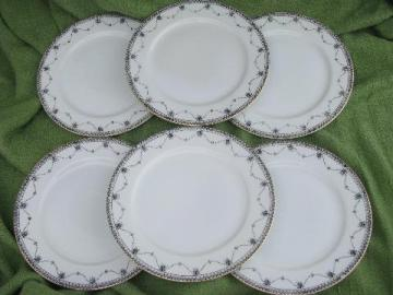 black on white 50s vintage hand-painted china salad plates, Okwan Japan