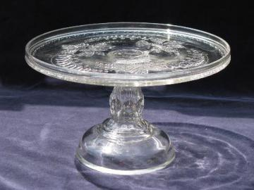 bleeding hearts floral, antique 19th century vintage pressed glass cake stand