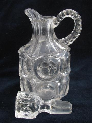 blown & pressed antique pattern glass cruet bottles w/ stoppers, EAPG jug