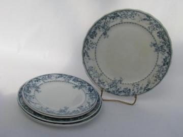 blue and white antique 1890s English transferware china plates lot