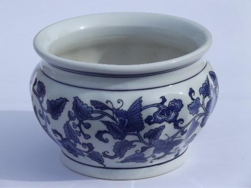 Blue And White China Jardiniere Vintage Chinoiserie Flower Planter Pot
