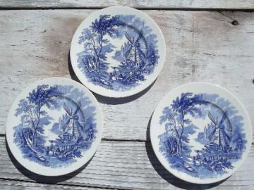 blue and white delft style Windmill vintage china plates, Palissy Ware England