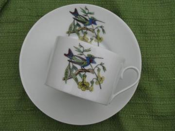 blue bird and flowers 50s 60s vintage GDA Limoges china cup and saucer set