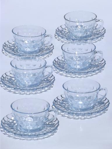 Blue Depression Glass Cups And Saucers
