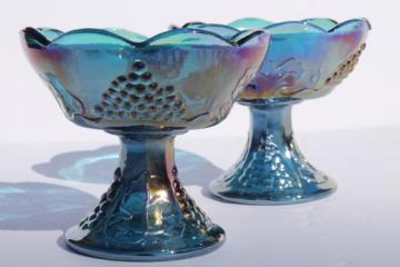 blue carnival glass candle holders set, vintage Indiana harvest grapes pattern glass