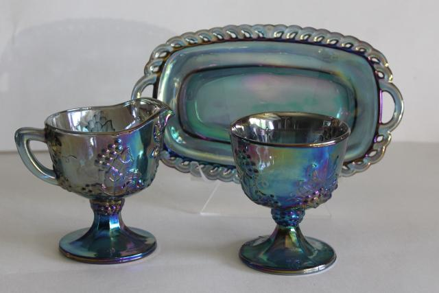 blue carnival glass cream pitcher, sugar bowl, tray - vintage grapes pattern Indiana glass