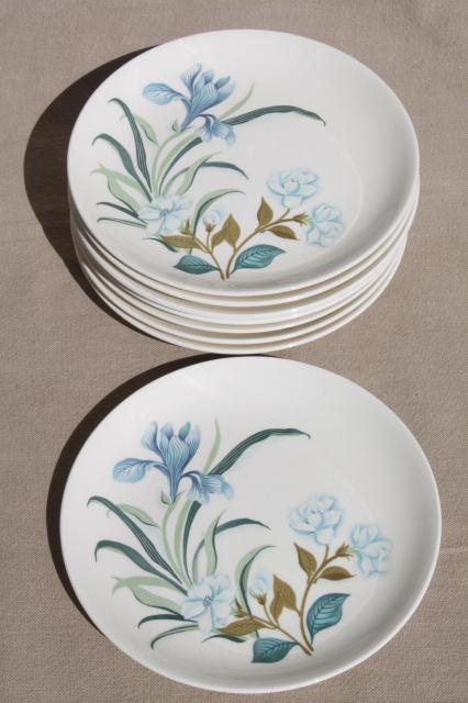 Blue Crocus Spring Flowers Pattern Vintage China Plates