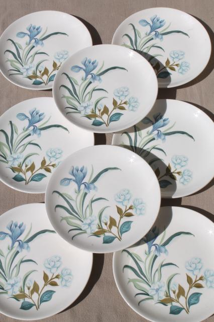 blue crocus spring flowers pattern vintage china plates Crown potteries pottery dishes & blue crocus spring flowers pattern vintage china plates Crown ...