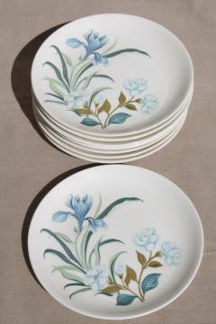 blue crocus spring flowers pattern vintage china plates, Crown potteries pottery dishes