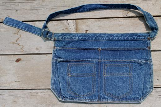 blue denim carpenter aprons, waist apron w/ jeans pockets for farmer's markets or gardening