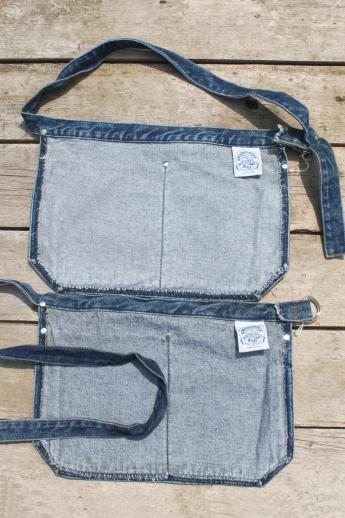 Blue Denim Carpenter Aprons, Waist Apron W/ Jeans Pockets For Farmeru0027s  Markets Or Gardening
