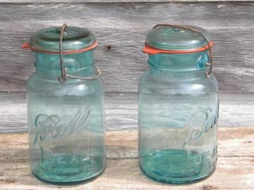 blue glass Ball Ideal storage jars or canisters lightening lids and 1908 patent