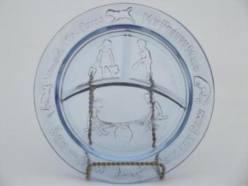 blue glass child's plate, divided dish w/ See-Saw Margery Daw nursery rhyme