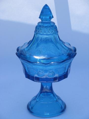 Blue Glass W Strawberry Pattern Vintage Tiara Indiana