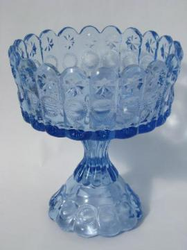 blue glass vintage pedestal bowl candy dish, moon and stars pattern