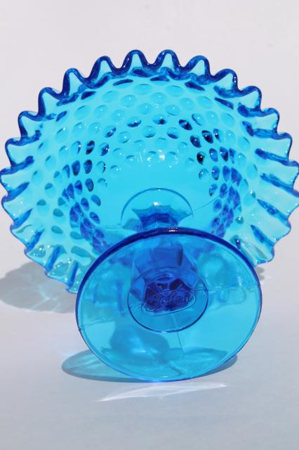 Blue Hobnail Fenton Glass Crimped Compote Bowl Candy Dish