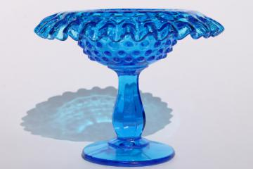 blue hobnail Fenton glass crimped compote bowl candy dish, 60s 70s vintage
