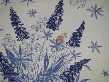 blue lupines or larkspur floral print, 50s-60s vintage rayon fabric
