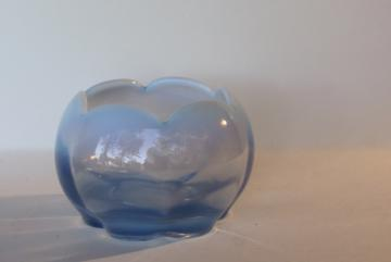 blue opalescent glass flower bowl rose vase, vintage Duncan & Miller Canterbury