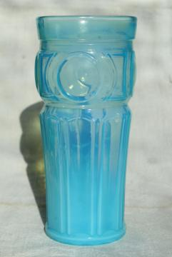 blue opalescent glass tumbler vase, vintage Wheaton bullseye pattern glass