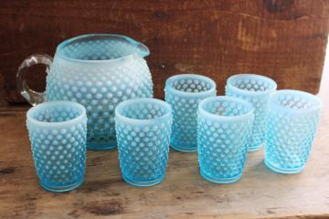 blue opalescent hobnail glass pitcher & tumblers, vintage Fenton lemonade set