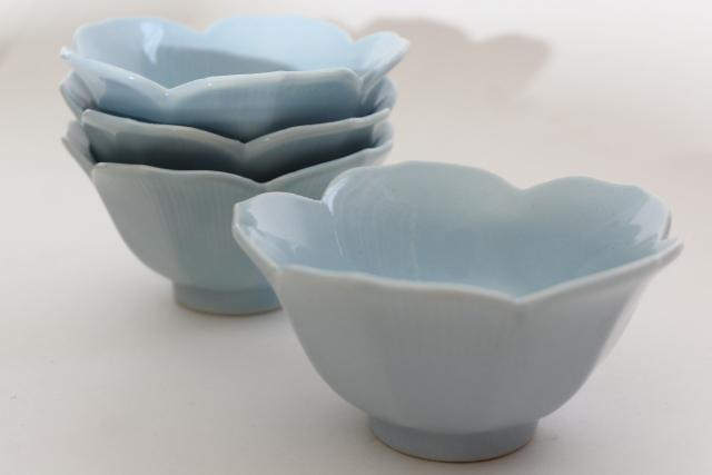 blue porcelain lotus flower rice bowls, vintage china dishes made in Japan