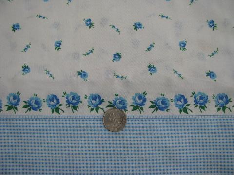 blue roses floral, vintage border print cotton fabric for pillowcases