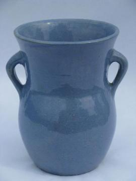 blue salt glazed pottery urn vase w/ handles, old unmarked stoneware