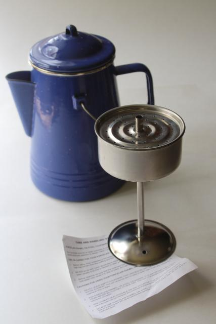 blue speckled enamel ware perculator, vintage coffee pot for camp fire or stove top
