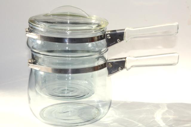 blue tint glass vintage Pyrex flameware double boiler 6763, two part bain marie w/ lid