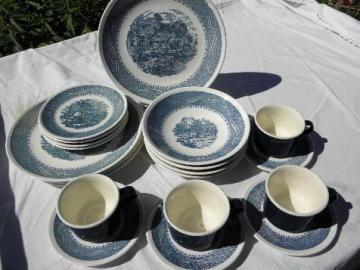 blue & white Currier & Ives china set, vintage Anchor Hocking ironstone