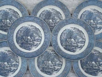 blue & white Currier & Ives grist mill dinner plates vintage Royal china
